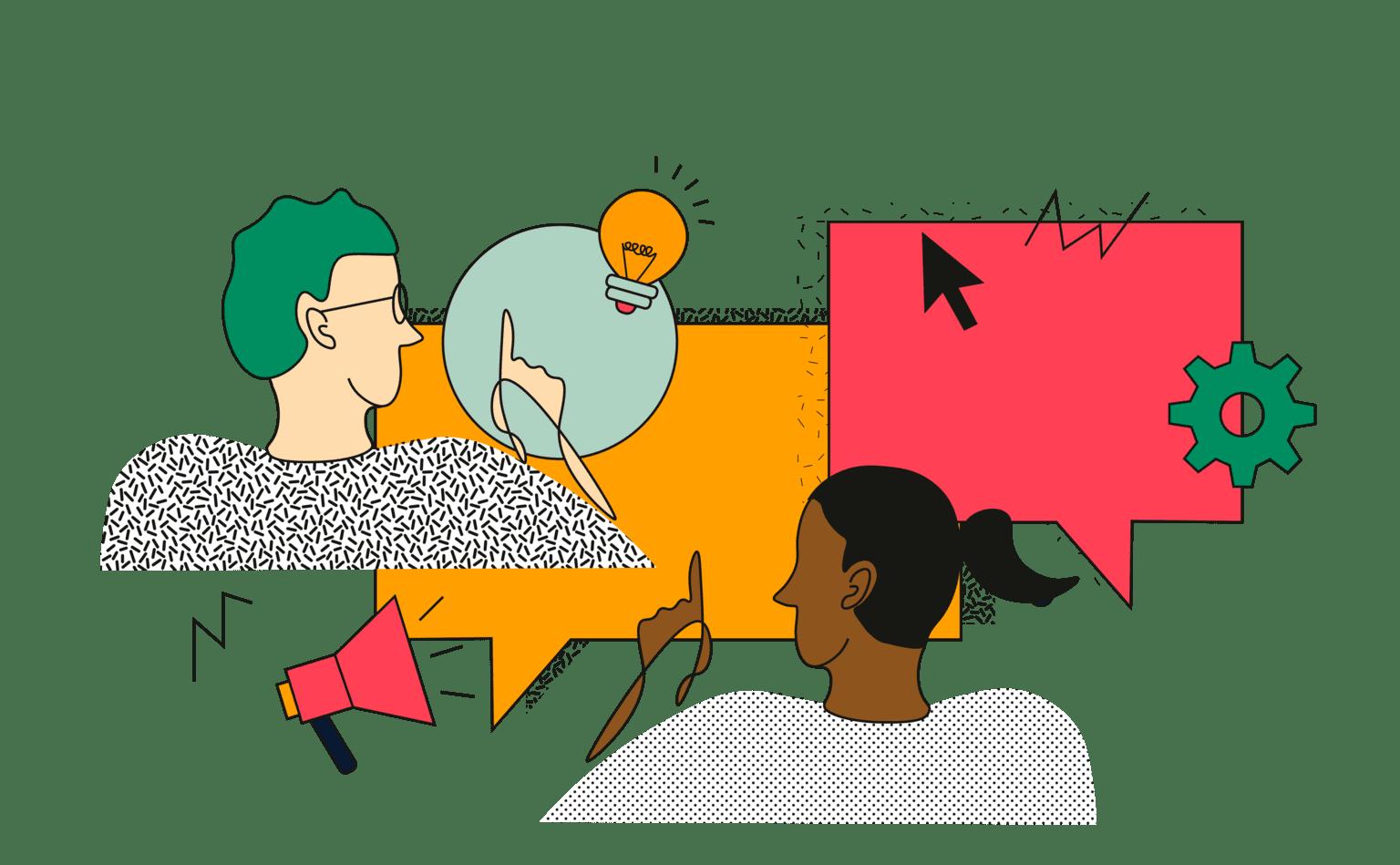 TharGo illustration abstraite montrant un homme et une femme qui réfléchissent